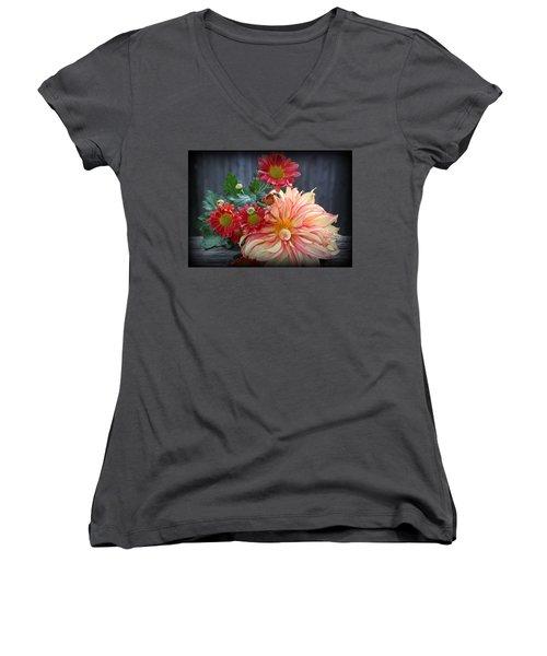 November  Flowers - Still Life Women's V-Neck T-Shirt (Junior Cut) by Dora Sofia Caputo Photographic Art and Design