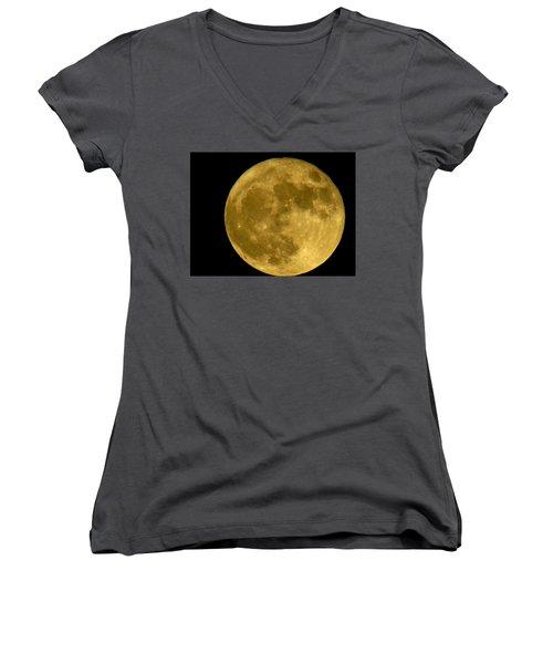 Women's V-Neck T-Shirt (Junior Cut) featuring the photograph November Full Moon by Eric Switzer