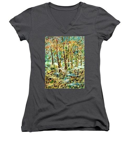 November Morn Women's V-Neck T-Shirt (Junior Cut) by Alfred Motzer