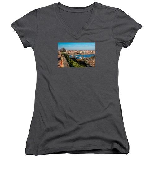 Women's V-Neck T-Shirt (Junior Cut) featuring the photograph Novi Sad Vojvodina View From Petrovaradin Fortress by Jivko Nakev
