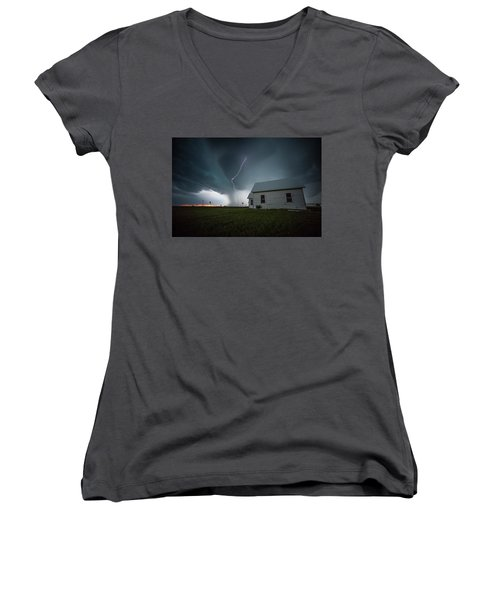 Women's V-Neck T-Shirt featuring the photograph Nowhere To Run by Aaron J Groen