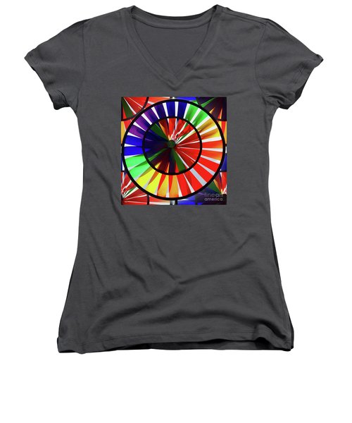 Women's V-Neck featuring the photograph noWind wheel by Luc Van de Steeg