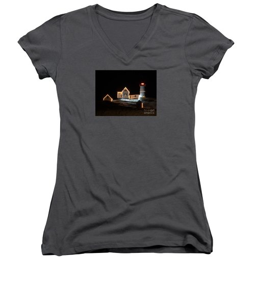 Nubble At Night Women's V-Neck T-Shirt (Junior Cut) by Patrick Fennell