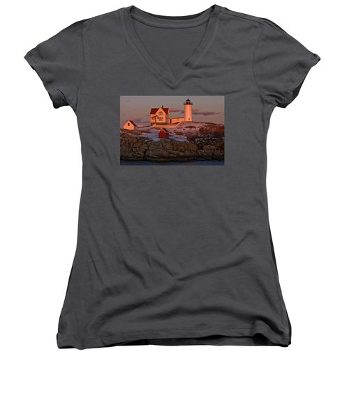 Nubble Light At Sunset Women's V-Neck (Athletic Fit)