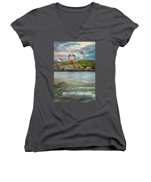 Nubble Light Women's V-Neck T-Shirt (Junior Cut) by Brian Caldwell