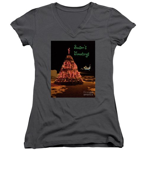 Nubble Light - Season's Greetings Women's V-Neck T-Shirt