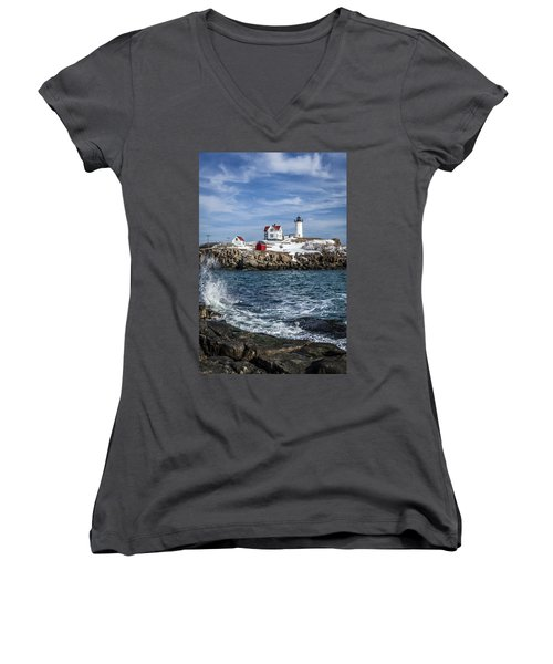 Nubble Lighthouse Winter Women's V-Neck (Athletic Fit)