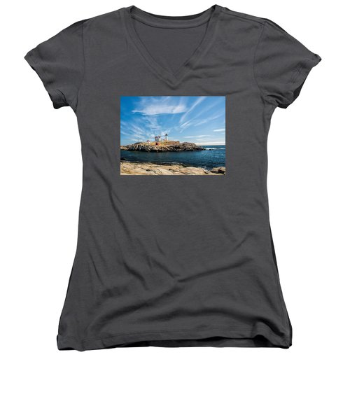 Nubble Lighthouse With Dramatic Clouds Women's V-Neck