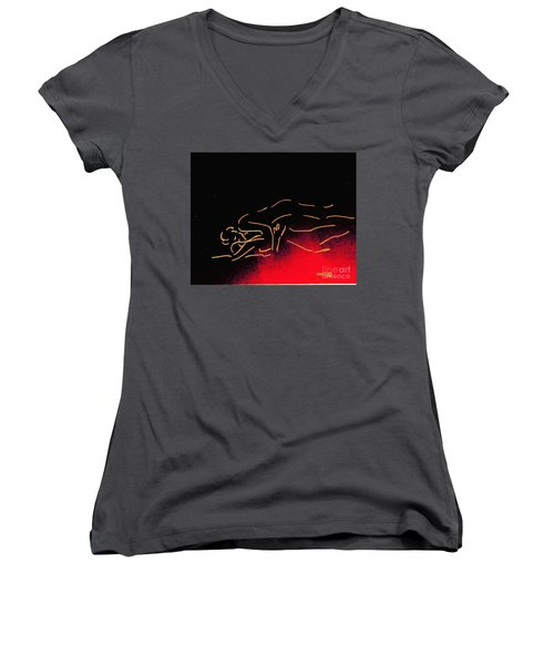 Nude Sleeping Couple Women's V-Neck (Athletic Fit)
