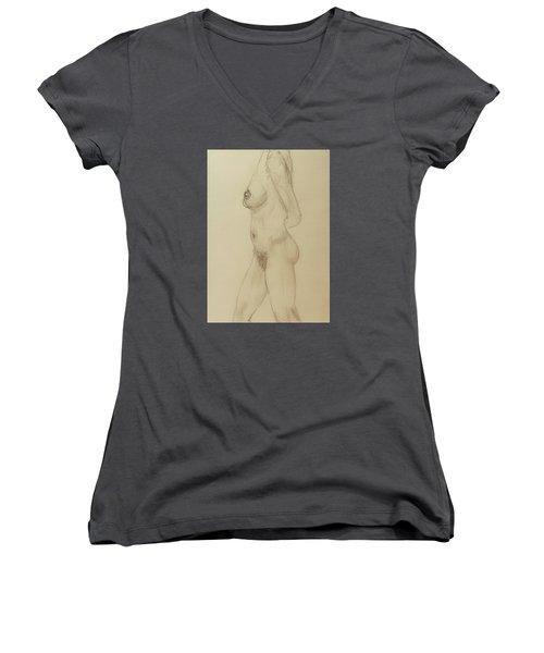 Nude Torso Standing Women's V-Neck T-Shirt (Junior Cut) by Rand Swift