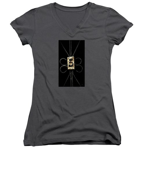 Women's V-Neck T-Shirt (Junior Cut) featuring the photograph Number 5 by Bruce Carpenter