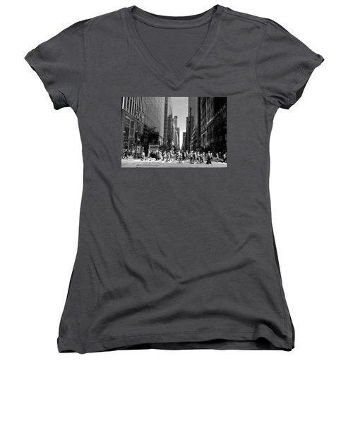Nyc 42nd Street Crosswalk Women's V-Neck T-Shirt (Junior Cut) by Matt Harang