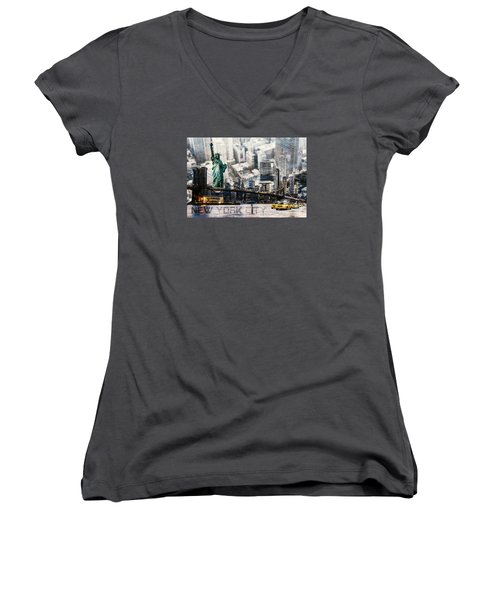 Women's V-Neck T-Shirt (Junior Cut) featuring the photograph Nyc - Collage by Hannes Cmarits