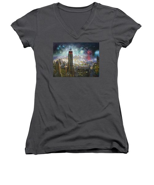 Nyc. Empire State Building Women's V-Neck (Athletic Fit)