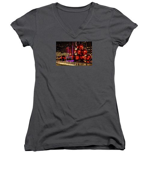 Women's V-Neck T-Shirt (Junior Cut) featuring the photograph Nyc Holiday Balls by Chris Lord