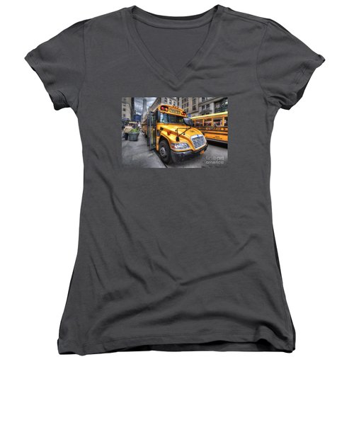 Nyc School Bus Women's V-Neck (Athletic Fit)