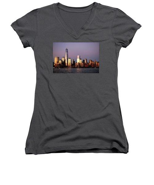 Nyc Skyline At Dusk Women's V-Neck T-Shirt (Junior Cut) by Matt Harang