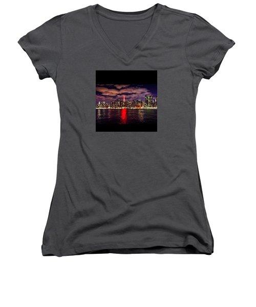 Nyc Skyline Women's V-Neck T-Shirt (Junior Cut) by Diya Baichu