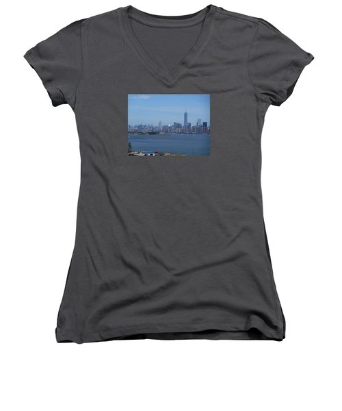 Nyc Skyline Women's V-Neck T-Shirt (Junior Cut) by Kathleen Peck