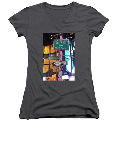 Nyc Street Sign Women's V-Neck