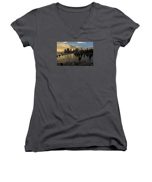 Women's V-Neck T-Shirt (Junior Cut) featuring the photograph Nyc Sunset by Anthony Fields