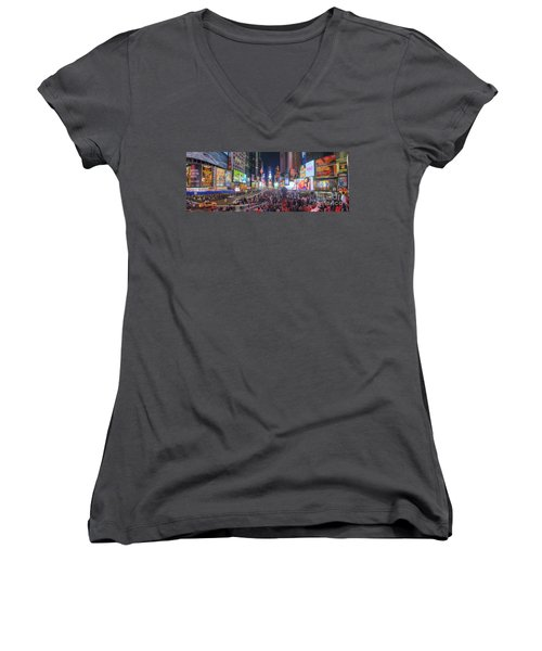 Nyc Times Square Panorama Women's V-Neck