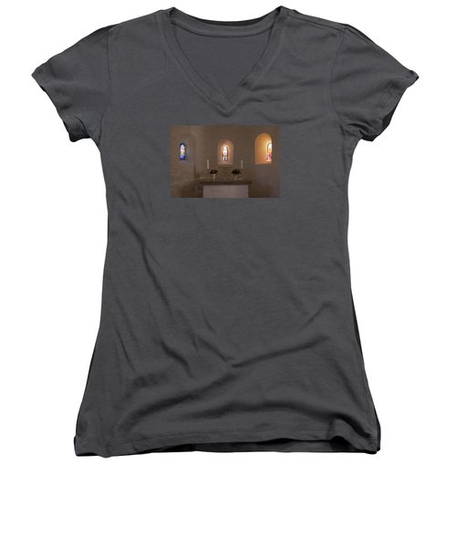 Women's V-Neck T-Shirt (Junior Cut) featuring the photograph Nyker Round Church Altar by Inge Riis McDonald