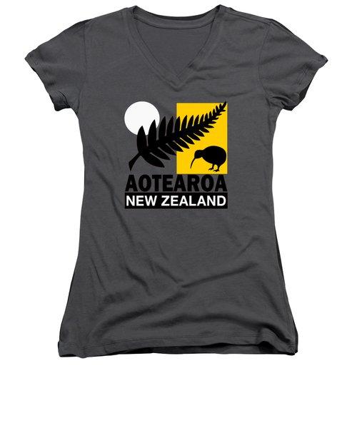 Nz-new Zealand Women's V-Neck T-Shirt