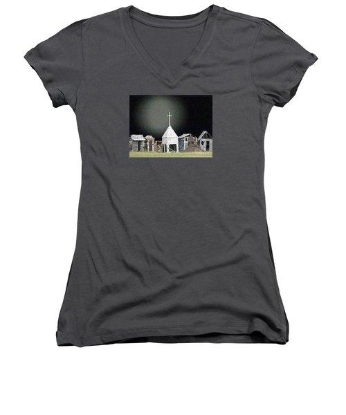 O Little Town Women's V-Neck T-Shirt (Junior Cut) by Lyric Lucas