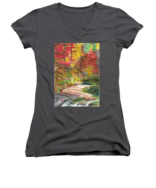 Women's V-Neck T-Shirt (Junior Cut) featuring the painting Oak Creek West Fork by Eric Samuelson