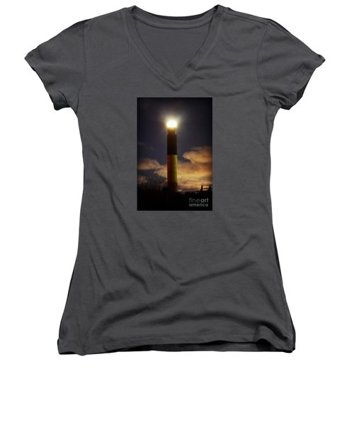 Oak Island Lighthouse Women's V-Neck T-Shirt (Junior Cut) by Kelly Nowak