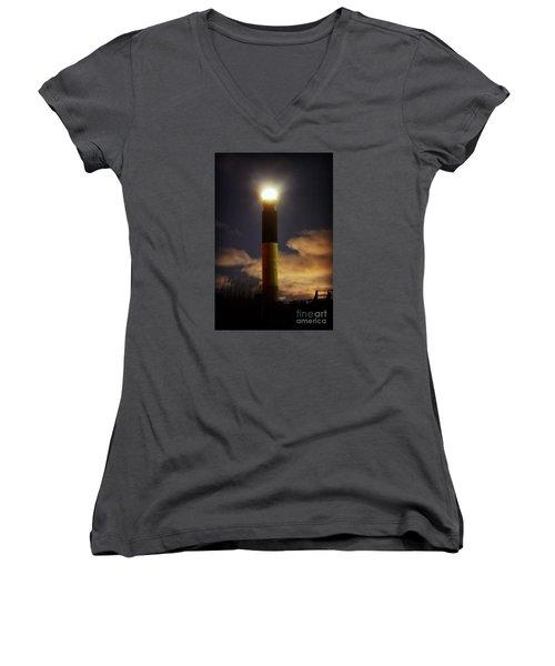 Women's V-Neck T-Shirt (Junior Cut) featuring the photograph Oak Island Lighthouse by Kelly Nowak