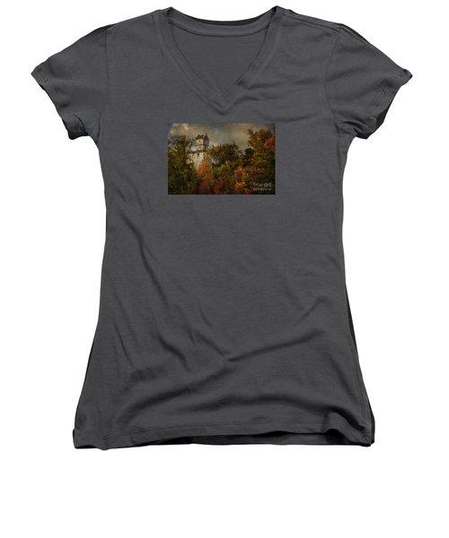 Oakhurst Water Tower Women's V-Neck T-Shirt (Junior Cut) by Debra Fedchin