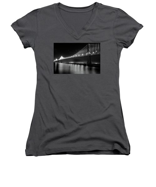 Women's V-Neck T-Shirt (Junior Cut) featuring the photograph Oakland Bay Bridge At Night by Darcy Michaelchuk
