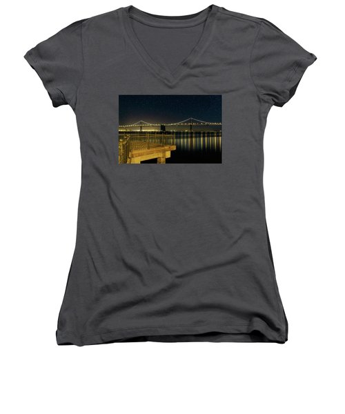 Oakland Bay Bridge By The Pier In San Francisco At Night Women's V-Neck T-Shirt