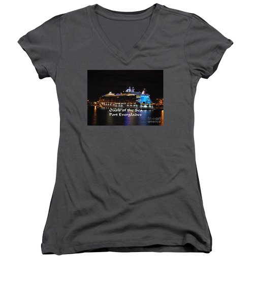 Women's V-Neck T-Shirt (Junior Cut) featuring the photograph Oasis Of The Seas by Gary Wonning