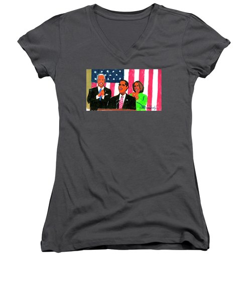Obama's State Of The Union '10 Women's V-Neck T-Shirt (Junior Cut) by Candace Lovely