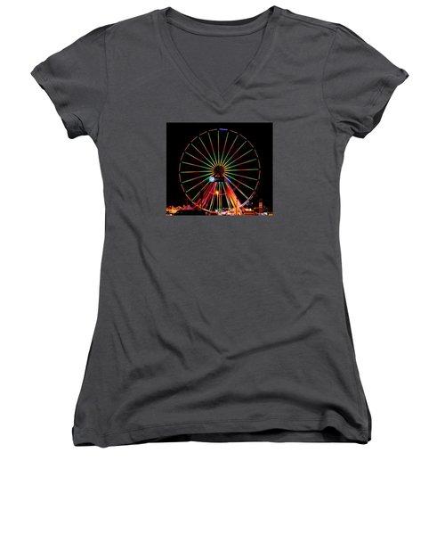 Oc Pier Ferris Wheel At Night Women's V-Neck T-Shirt (Junior Cut) by William Bartholomew