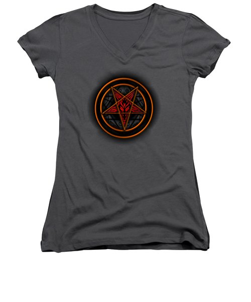 Occult Magick Symbol On Red By Pierre Blanchard Women's V-Neck T-Shirt
