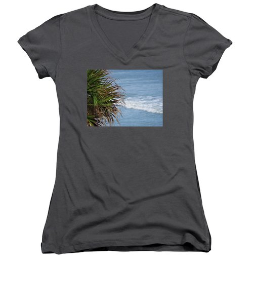 Ocean And Palm Leaves Women's V-Neck (Athletic Fit)