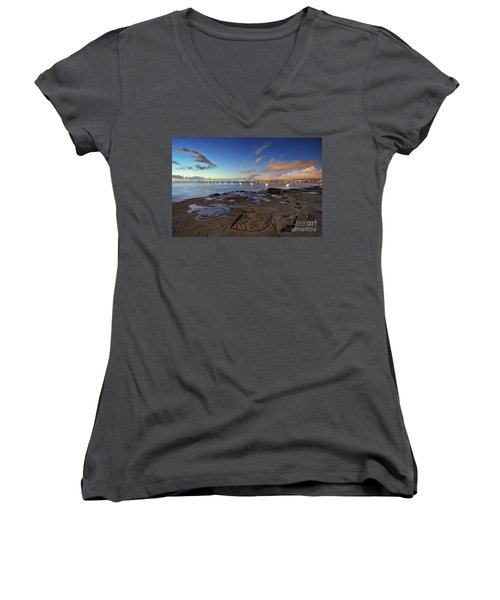 Ocean Beach Pier At Sunset, San Diego, California Women's V-Neck