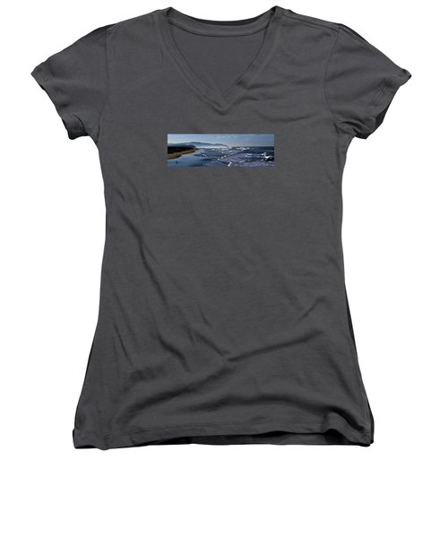 Women's V-Neck T-Shirt (Junior Cut) featuring the photograph Ocean Beach San Francisco by Steve Siri