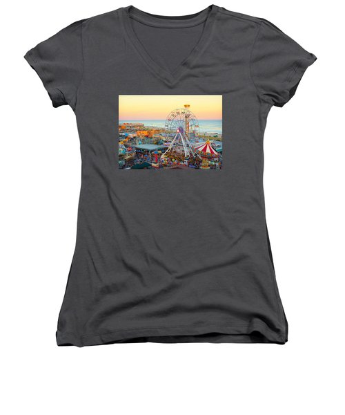 Ocean City New Jersey Boardwalk And Music Pier Women's V-Neck (Athletic Fit)