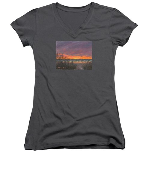 Ocean Daybreak # 2 Women's V-Neck T-Shirt (Junior Cut) by Kathleen McDermott