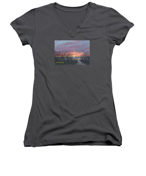 Women's V-Neck T-Shirt (Junior Cut) featuring the painting Ocean Daybreak by Kathleen McDermott