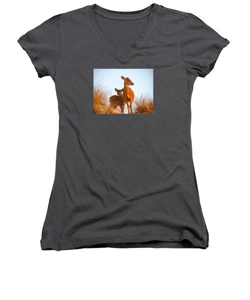 Ocean Deer Women's V-Neck T-Shirt (Junior Cut) by  Newwwman