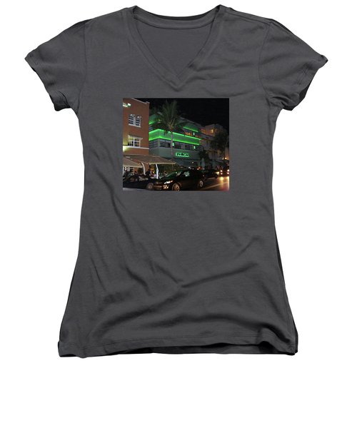 Ocean Drive Miami Beach Women's V-Neck (Athletic Fit)