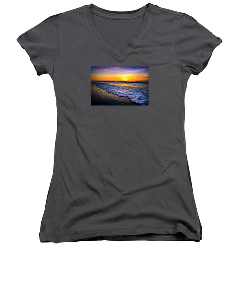 Ocean Drive Sunrise Women's V-Neck T-Shirt (Junior Cut) by David Smith