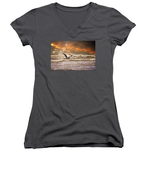 Oregon Women's V-Neck T-Shirt (Junior Cut) featuring the photograph Ocean Flight by Aaron Berg
