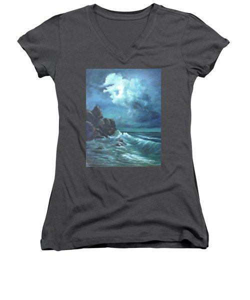 Seascape And Moonlight An Ocean Scene Women's V-Neck